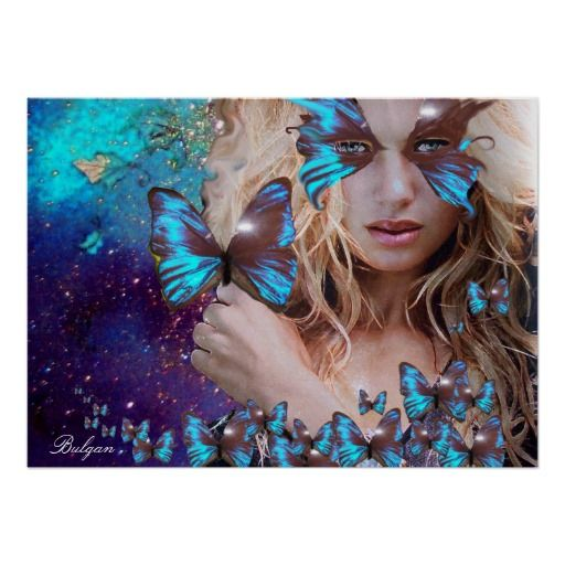 BLUE BUTTERFLY Art Poster, Original Digital Painting by Bulgan Lumini (c)