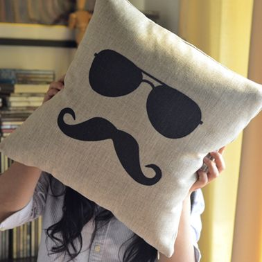 Mr. Moustache Print Decorative Pillow