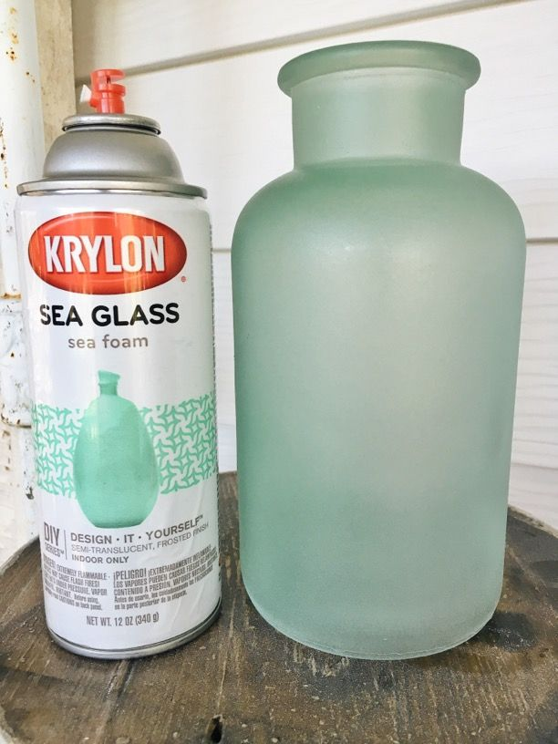 Sea Glass Spray Paint by Krylon - this post shows how you can easily and inexpensively transform mismatched glassware into unique accessories - via Liz Marie Blog