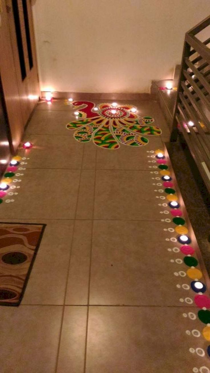 71 best traditional rangoli art images on pinterest for Home decorations in diwali