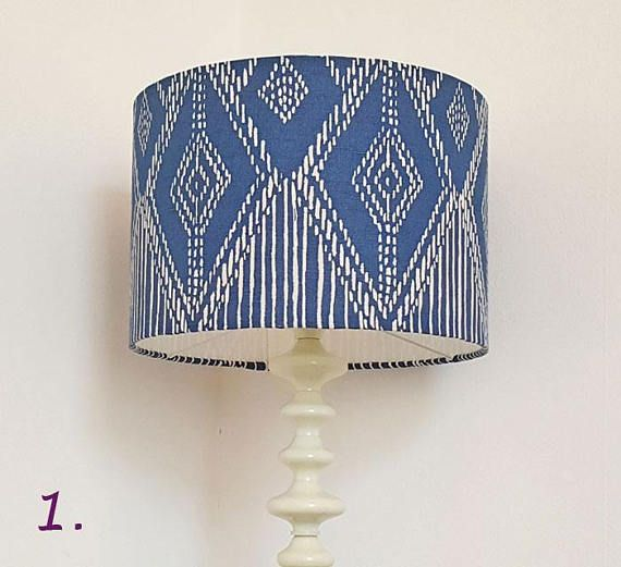 Blue white 35cm diameter ikat design drum lampshade suits uk or european light fittings