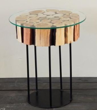 Perth Designed & Made - Unique Lamp Table Reclaimed Timber & Materials are showcased in this Log Table. (The General Store Furniture Co)