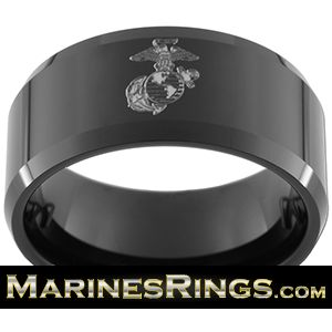 Black Tungsten Carbide with USMC Eagle, Globe, and Anchor EGA Engraved. Get your U.S. Marine Corps Rank Engraved for free! Perfect for Marine Weddings, Graduations or Just Because! MarinesRings.com