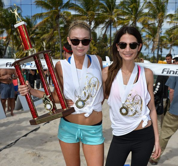 Gigi Hadid Photos - Sports Illustrated Swimsuit Beach Volleyball Tournament on Ocean Drive - Zimbio