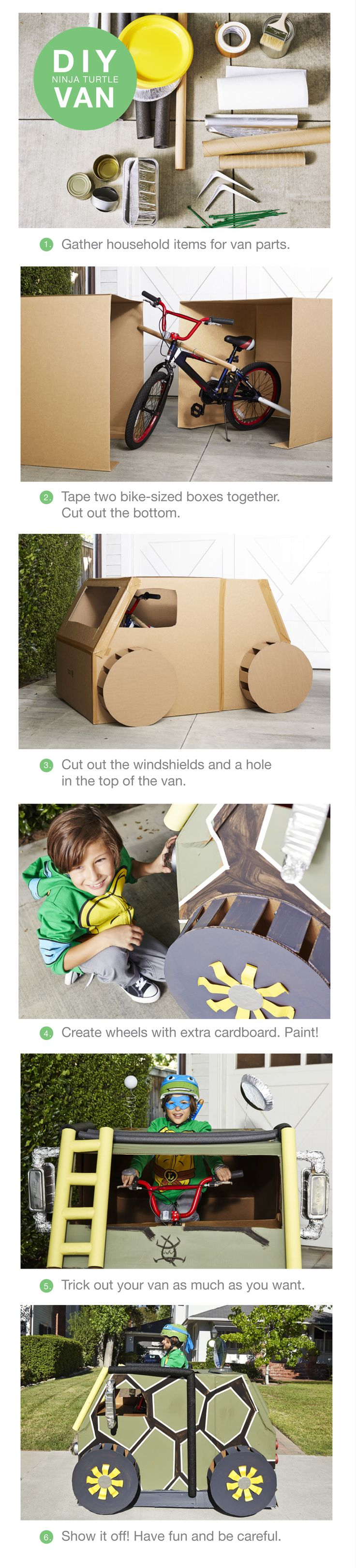 The ultimate weekend project for the most hardcore Teenage Mutant Turtles fans. Using things you find around the house you can make your kid an assault van every kid on the block will be talking about. Click to shop for all things Turtles at Target.