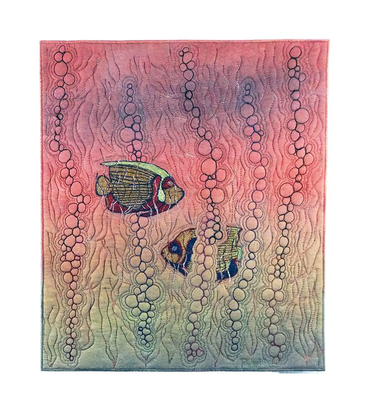 Art by Peggy Wright, Angelfish, 2015, 12 x 14 inches; painting, freehand machine stitching