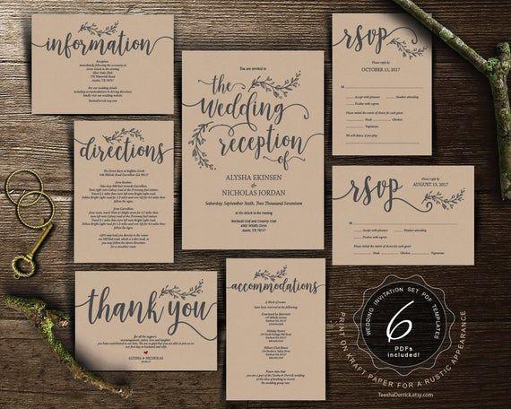 Wedding Reception Invitation Cards Suite Pdf Editable