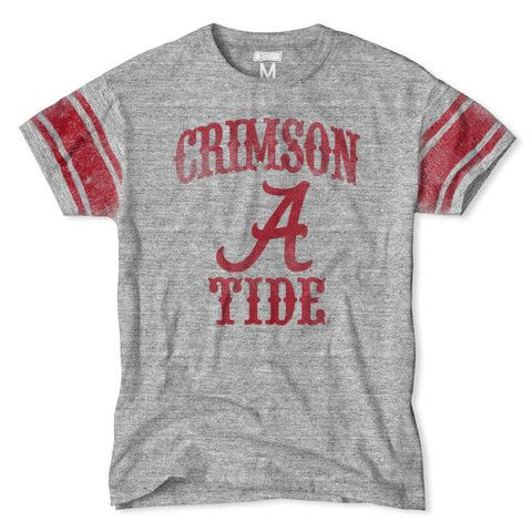 Support your team in style with vintage college football apparel. Alabama Crimson Tide Stripe Vintage College Football T-Shirt.