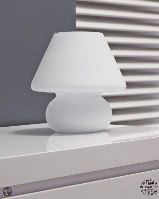 Tafellamp retro vintage bolvoet wit mat glas