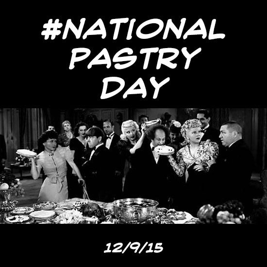 Today is #NationalPastryDay! It really is! Pastries have been around since 2600 B.C. It took The Three Stooges to elevate them to an 'art form' with their masterful ability to create mayhem with pies, cream puffs, cakes or any pastry! #threestooges #thethreestooges #piefight