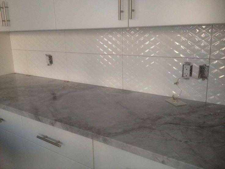 Textured tile backsplash quilted look tile stone for Textured backsplash