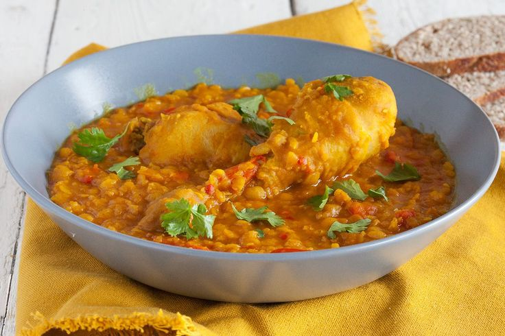 Enjoy a lovely chicken yellow split pea curry with bread for an awesome weekday meal. Without the chicken legs it would make a nice vegetarian meal as well.