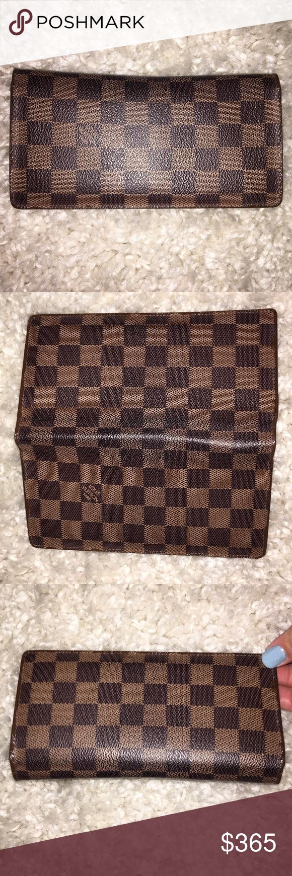 Authentic Louis Vuitton Damier Ebene Brazza Wallet Authentic Louis Vuitton Brazza Damier Ebene Bifold Wallet. DATE CODE: SP 4039 (September 2009) MADE IN FRANCE. 12 credit card , 1 ID , 3 long slot , zipper coin purse. Has some cracking around edges where wallet folds & LV wouldn't reglaze the edges so I used Edge Koat in brown to seal & prolong life. Date code & heat stamp in red is faded but still can see the actual stamp. No dust cover or box included. Louis Vuitton Bags Wallets
