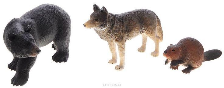 Mojo Набор фигурок Лесные животные Волк медведь бобер