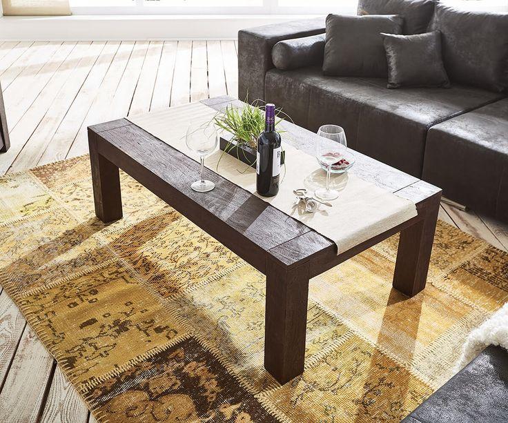 Couchtisch Akazie Tabak 120x70 Massivholz Sandbestrahlt Möbel Tische Couchtische