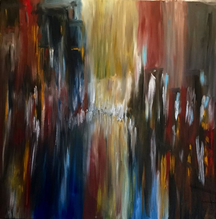 City by night, 100x100cm, oil on canvas