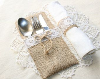 SET OF 45 Burlap Silverware Holders by FriendlyEvents on Etsy