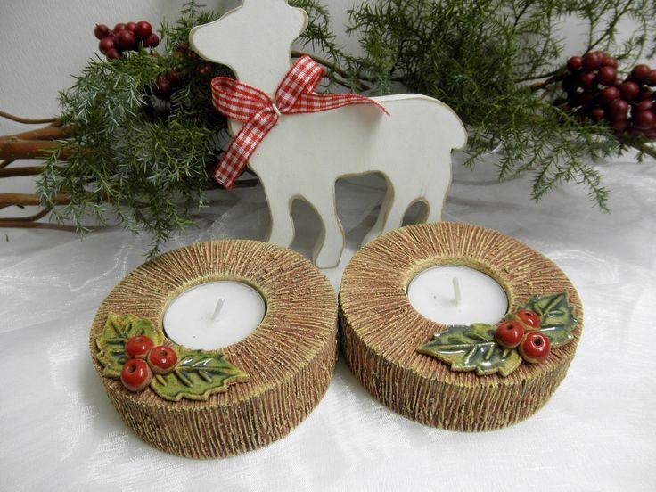 Vánoční+svícen+Ze+šamotové+hlíny,+průměr+svícnu+9,5+cm.+CENA+ZA+KUS