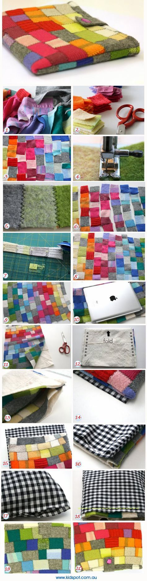 Make your own iPad cover- I don't have an ipad, I just like the colors.