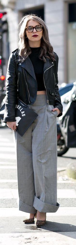 Paris Fashion Week Street Style: wide legged pants and a leather biker jacket
