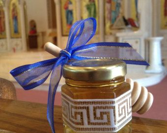 Greek Orthodox Baptism Favors With Greek Key Ribbon by holyhoney