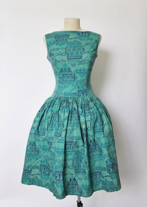 Vintage 1950s Dress 50s Full Skirt Dress by OhMyGatoVintage