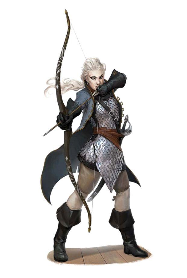 Female Half-Elf Archer Paladin - Pathfinder PFRPG DND D&D 3.5 5th ed d20 fantasy