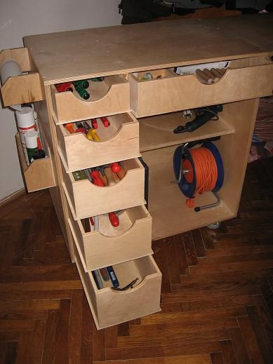 plywood drawer bottom doubles as slide.