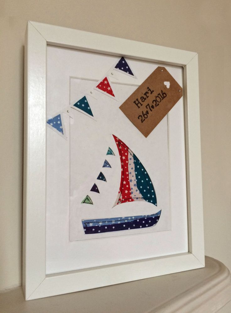 New baby boy gift - Applique and papercut personalised frame with boat and bunting detail. Nursery decor, New baby gift by CalonB on Etsy