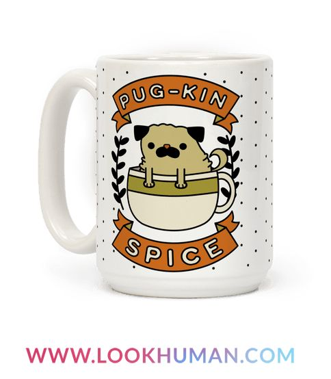 "Show your love of PSL and pugs with this adorable pumpkin spice mug! This pug mug, perfect for fans of fall, features an illustration of a pug in a coffee cup, banners, and the phrase ""Pug-kin Spice."""
