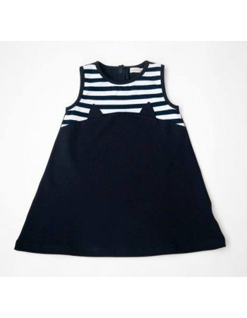 Carbon Soldier - YmamaY | My Kitten Went to London - Cat Stevens Dress - Navy/White