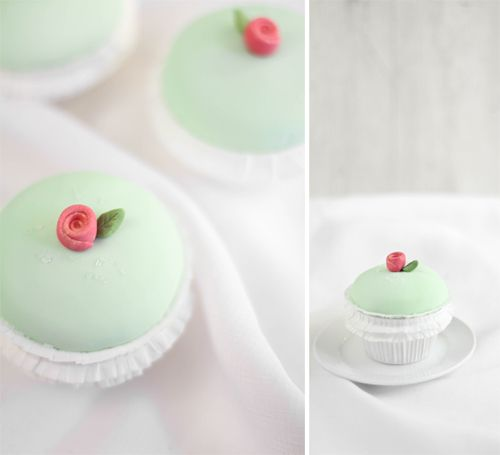 Princess Torte Cupcakes by Sprinkle Bakes...!! with pastry cream and red raspberry jam filling, marzipan and fondant.