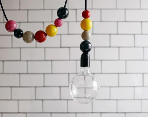 dottir & sonur lampLamps, Ideas, Hanging Lights, Lights Fixtures, Trav'Lin Lights, Kids Room, Pendants Lights, Diy, Wooden Beads