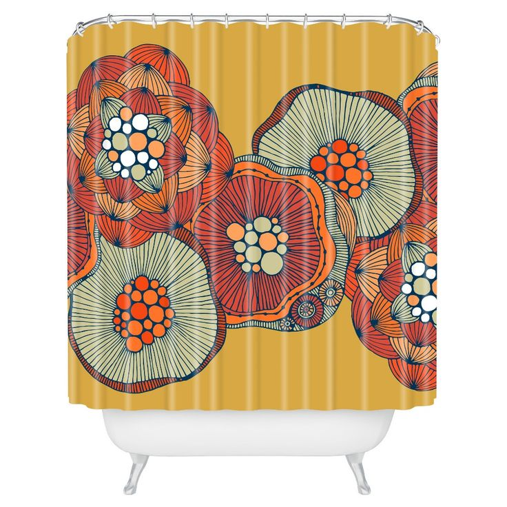 """Valentina Ramos Blomma in Yellow Shower Curtain (71""""x74"""") - Deny Designs"""