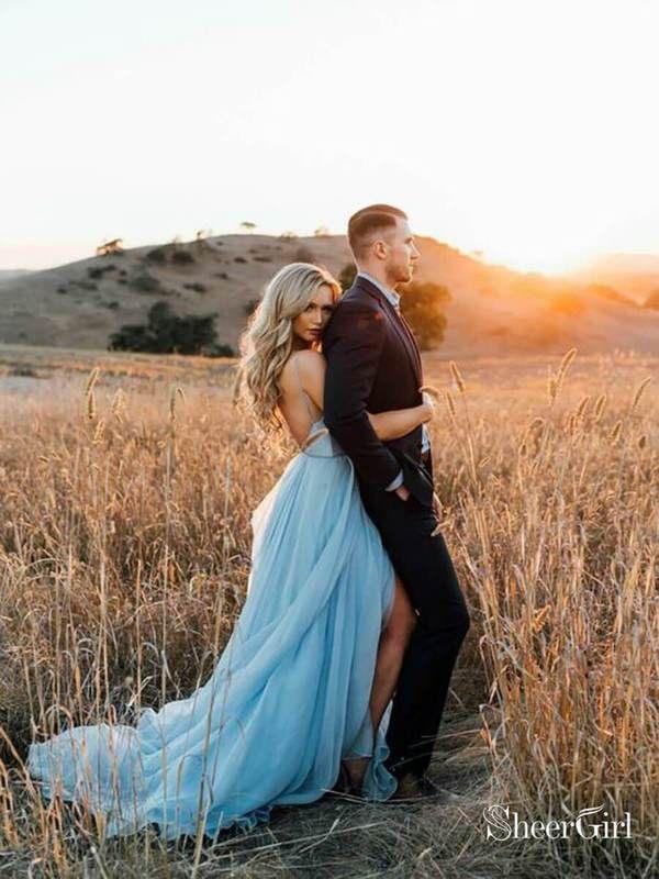 Oberschenkel Steinsplitter Sky Blue Rustikale Brautkleider Strand Hochzeitskleid… – Hochzeitskleid