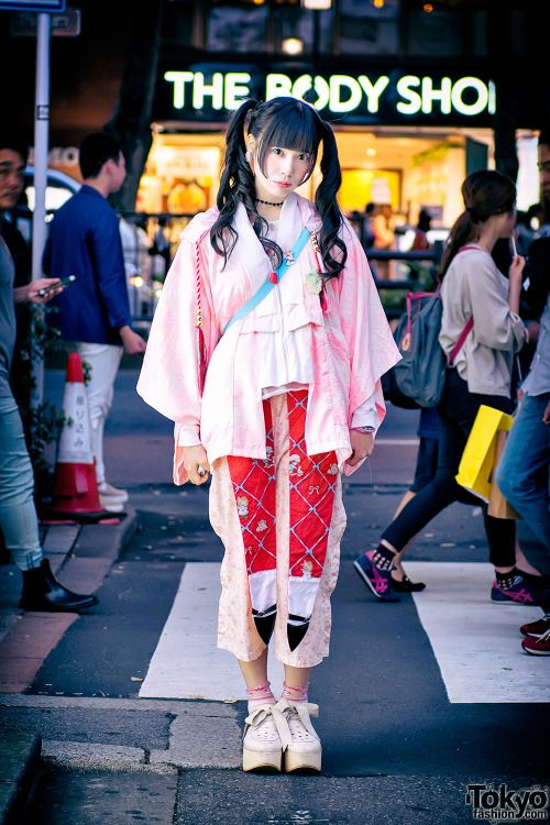 Japanese idol Shioringo on the street in Harajuku...   Tokyo Fashion
