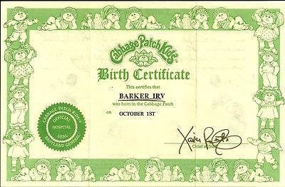 VINTAGE 1983 CABBAGE PATCH KIDS BIRTH CERTIFICATE FOR BARKER IRV OCTOBER 1ST   eBay