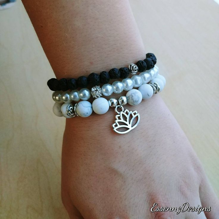 Stacked Bracelet with heart or lutus charm - Howlite, lava stone and Czech glass pearl bead by EssennzDesigns on Etsy