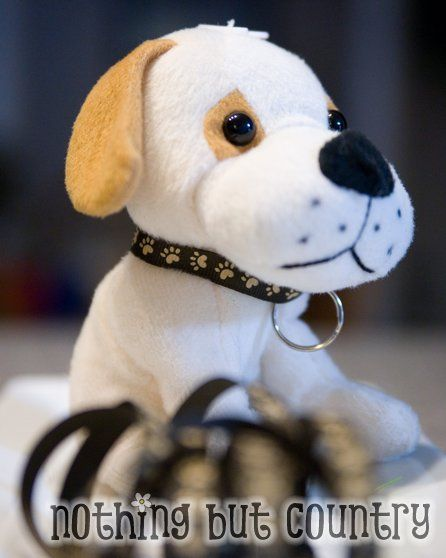 DIY Puppy Collars, just use a hair-tie instead (since I don't sew) and put the dog's name on circles from craft store and attach!: Puppy Birthday Parties, Dogs, Diy Collars, Adopt A Pet Birthday Party, Adopt A Pet Party, Puppy Party, Party Idea, Diy Puppy
