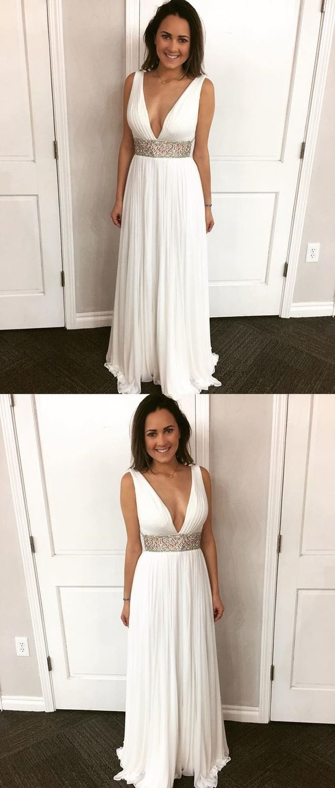 V Neck Ivory Chiffon Prom Dress with Bling Belt,White Prom Dress with Slit,2018