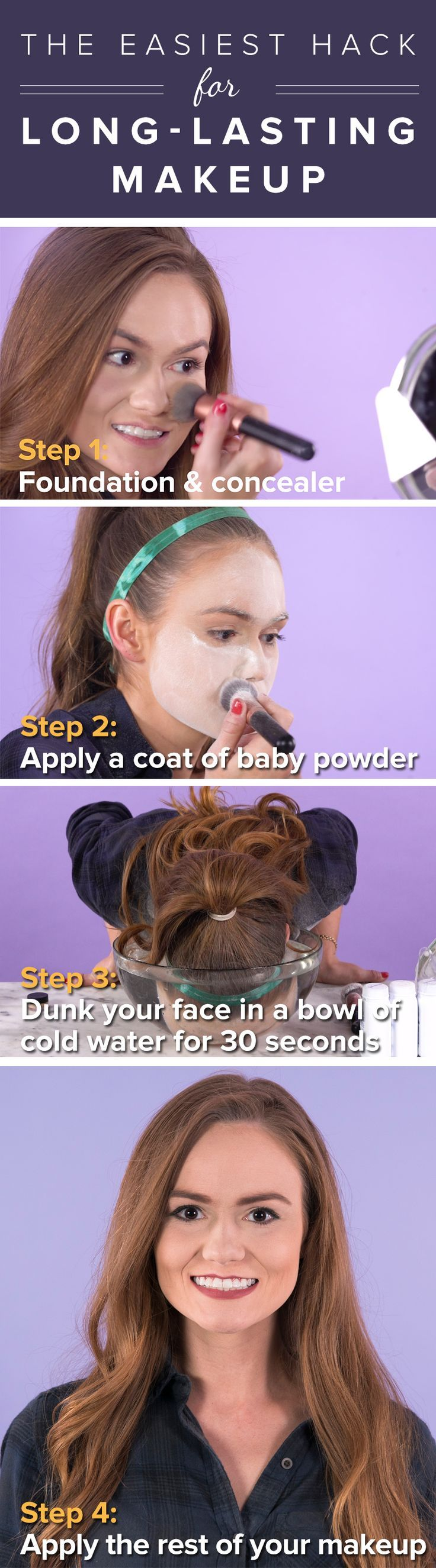 Try these tips to get long-lasting makeup and foundation. All you need is baby powder and cold water. It's so easy!