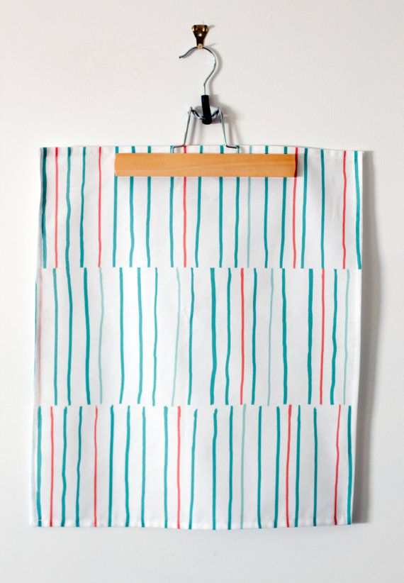 Summer Stripe Cotton Tea Towel, Coral Teal and Mint