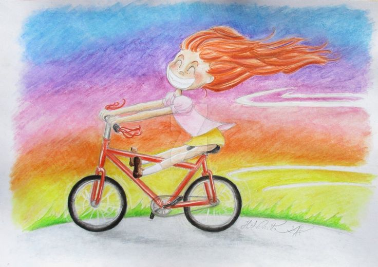 Riding a bike in the Summer Sunset by Helviriitta.deviantart.com on @DeviantArt