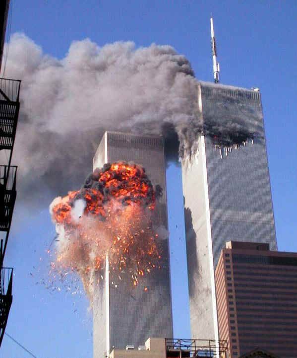 United Airlines flight 175 moments after striking the South Tower of the World Trade Center, September 11, 2001