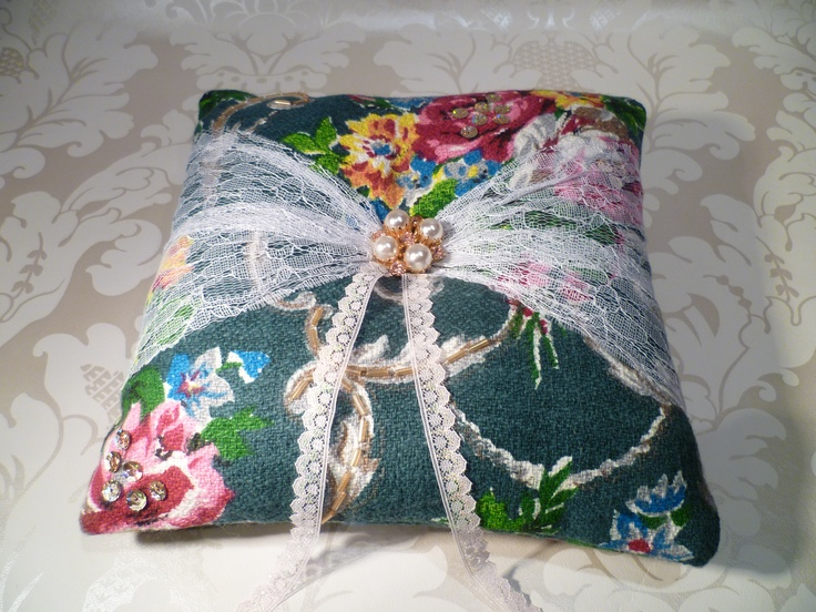 #Wedding ring cushion, made using #vintage fabric and brooch