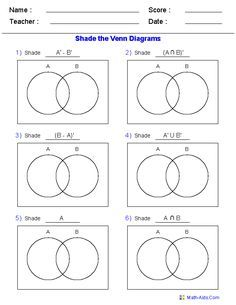 venn diagrams worksheets