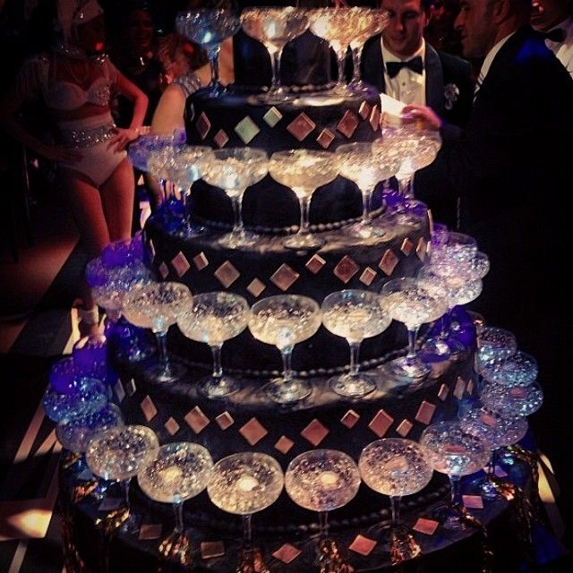 The Great Gatsby Party Cake  with champagne glasses...