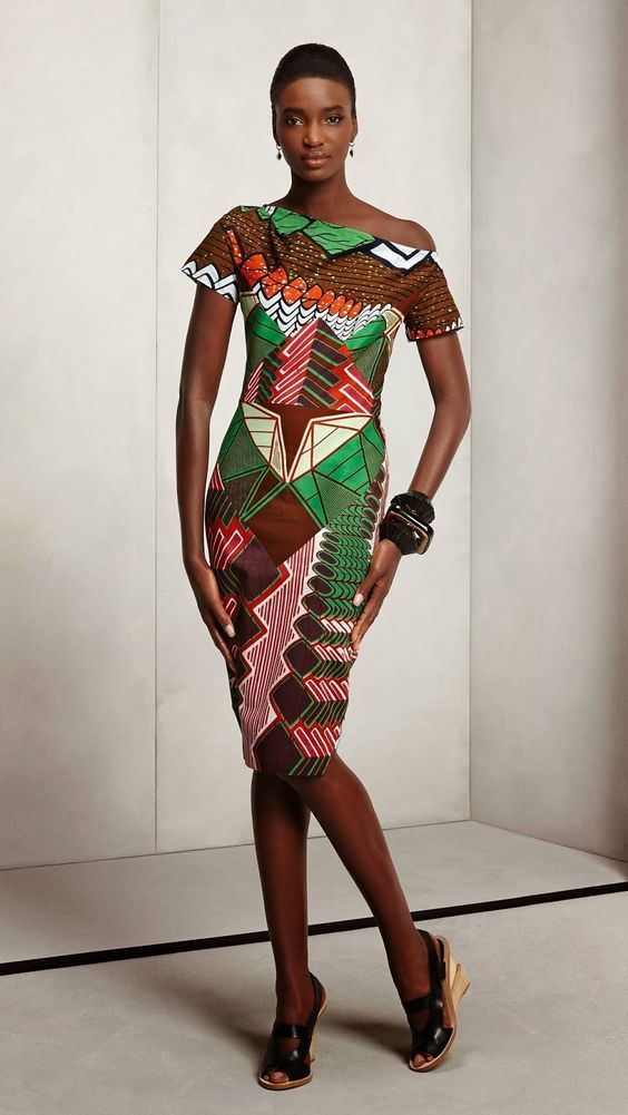 """Vlisco presents new fabrics collection """"THINK"""". The appealing pattern and unique colour combinations ensure that everyone can express their personality in their clothing.  They use unique patterns in shades like yellow, blue, green, red, pink, purple, orange and brown. Posted by FashionManiaGH Jan. 2015."""
