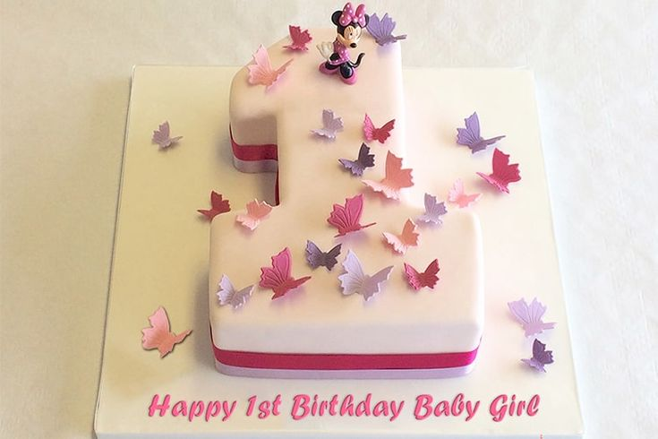 1st number birthday cake for baby girl with name and