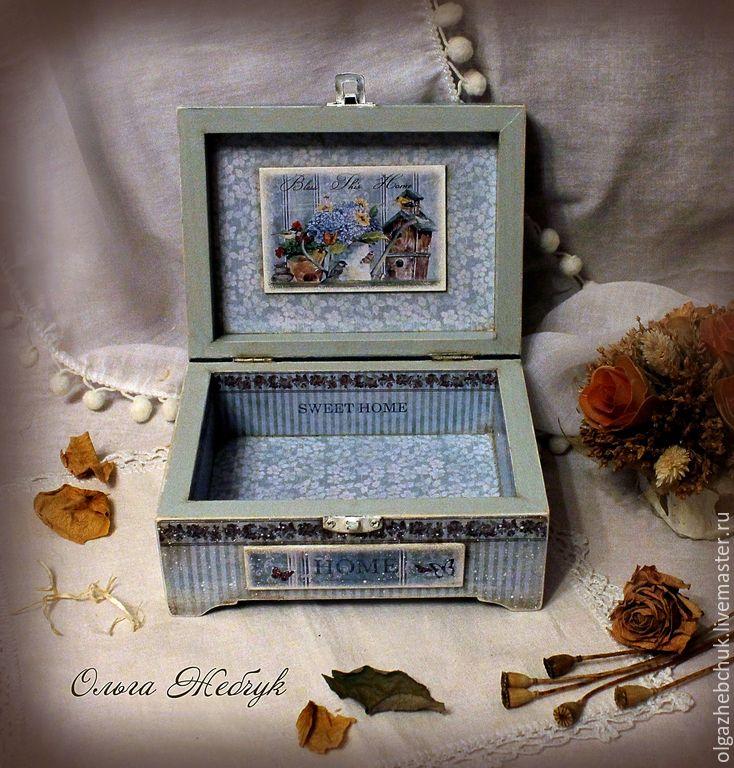 """Купить Шкатулка """" Милый дом"""" - голубой, шкатулка для украшений, шкатулка деревянная, шкатулочка"""